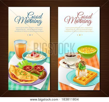 Breakfast vertical banners with coffee juice cereal sausages omelette with vegetables waffles with cream isolated vector illustration