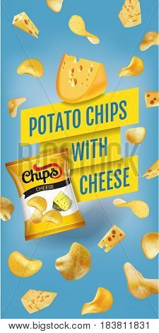 Potato chips ads. Vector realistic illustration of potato chips with cheese. Vertical banner with product.