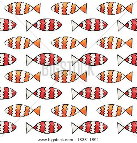 Hand drawn abstract watercolor and ink fish seamless pattern on the white background