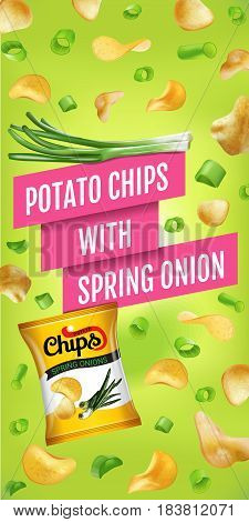 Potato chips ads. Vector realistic illustration of potato chips with spring onion. Vertical banner with product.