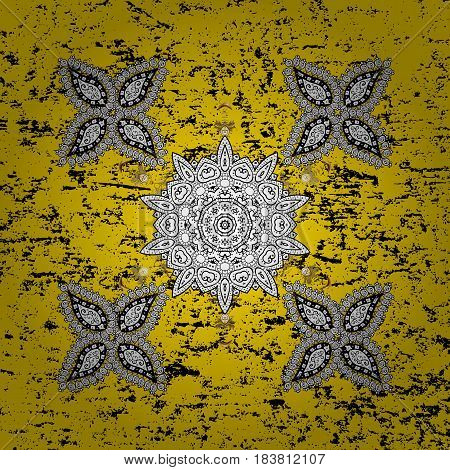 Yellow background with white elements. Oriental ornament in the style of baroque. Traditional classic vector white.