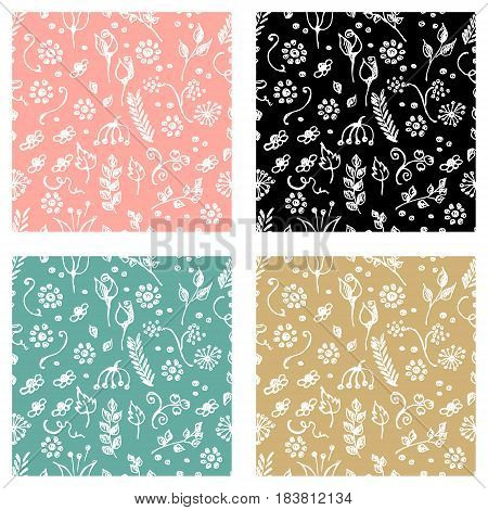 Set Of Seamless Vector Patterns, Hand Drawn Background With Flowers, Branch, Leaves, Dots. Hand Sket
