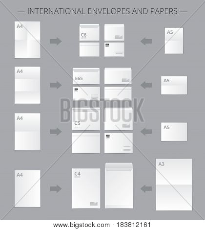Paper documents set with realistic images of mail envelopes and suitable blank paper sheets connected by arrows vector illustration