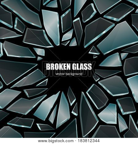 Broken glass dark shiny realistic fragments on black background screen smartphone wallpaper poster decorative vector illustration