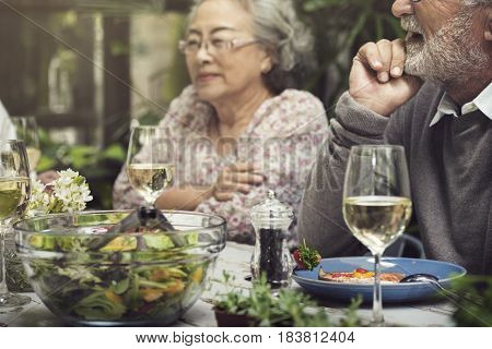 Senior Group Relax Lifestyle Dinning Concept