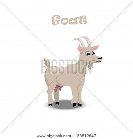 Original vector illustration of farm pet goat , cattle, milk and goat meat. original trendy vector illustration of a brown horse. Farm animals collection