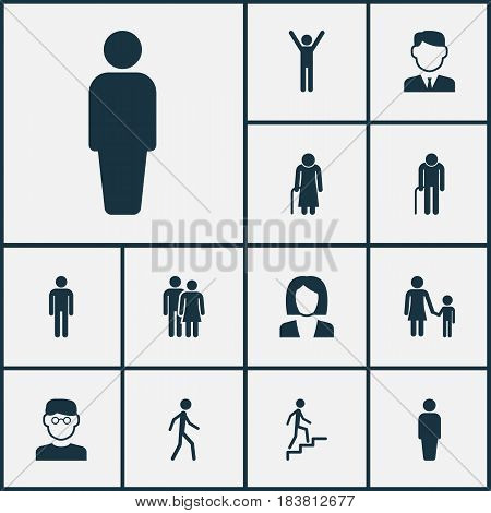 People Icons Set. Collection Of Family, Gentleman, Old Woman And Other Elements. Also Includes Symbols Such As Mister, Couple, Mother.