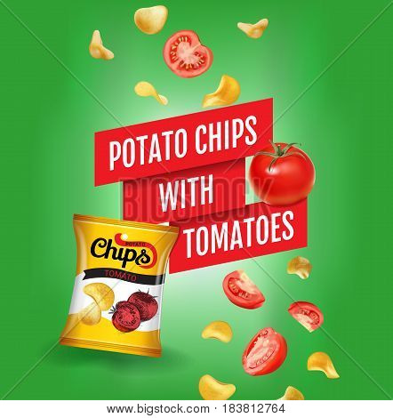Potato chips ads. Vector realistic illustration of potato chips with tomatoes. Poster with product.