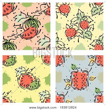 Vector Fruits Seamless Pattern. Watermelon, Pomegranate, Strawberry, Berry, With Leaves, Blots Drops