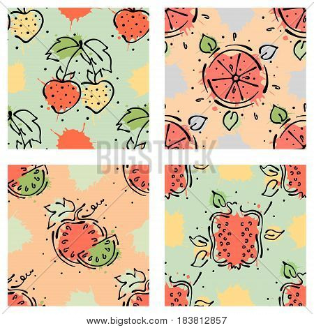 Vector Fruits Seamless Pattern. Watermelon, Strawberry, Cherry, Pomegranate, With Leaves Blots Drops