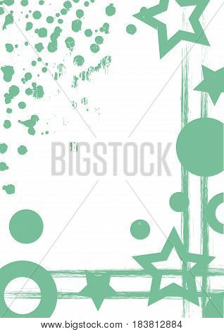Vector Drawn Background With Frame, Border. Grunge Template With Geometric Figures, Splash, Spray At