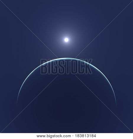 2d illustration of the moon and the sun view from space