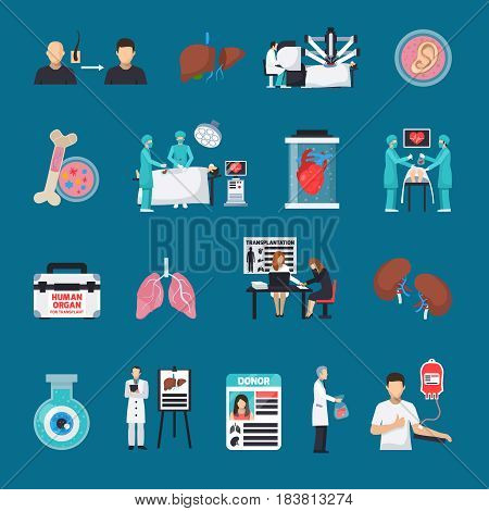 Transplantation decorative icons set on blue background with human and artificial organs donor card operating doctors flat vector illustration