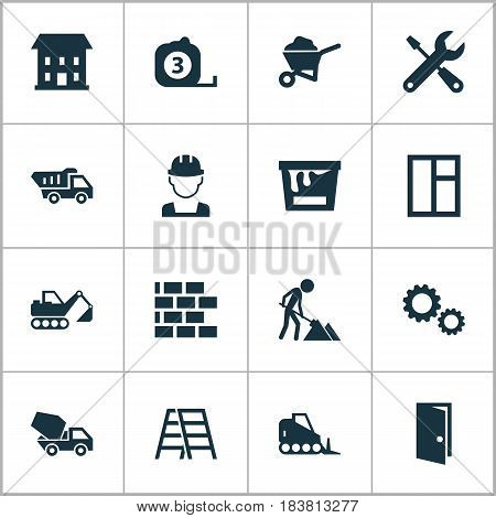 Building Icons Set. Collection Of Measure Tool, Entrance, Cement Vehicle And Other Elements. Also Includes Symbols Such As Window, Rule, Service.