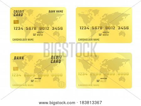 Credit card on white background in four variations. Plastic bank cards golden color. The vertical location.