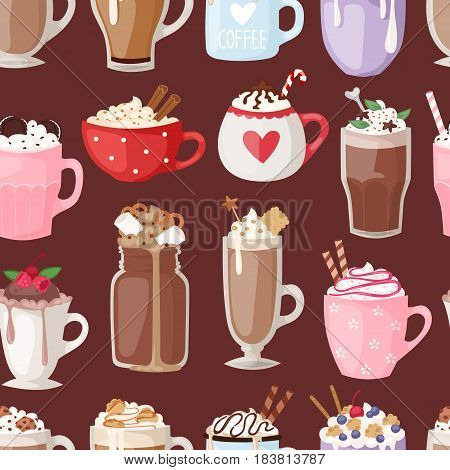 Set of different transparent cups of coffee types mug with foam beverage and breakfast morning sign tasty aromatic glass assortment vector illustration seamless pattern