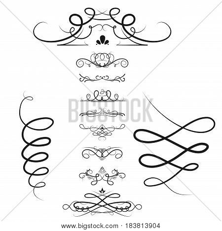 Collection of vector dividers calligraphic style vintage border frame design decorative illustration element. Set page decoration retro ornament calligraphy abstract shape.