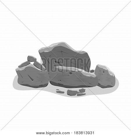 Rocks stones set in cartoon style. Isometric 3d boulders. Vector illustration
