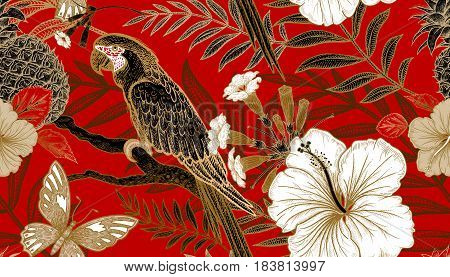 Flowers and birds seamless pattern. Hand drawing of wildlife. Print gold foil on red background. Exotic plants and parrots. Vector illustration art. Template for luxury fabrics paper summer textiles