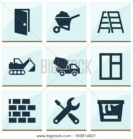 Architecture Icons Set. Collection Of Cement Vehicle, Paint Bucket, Glass Frame And Other Elements. Also Includes Symbols Such As Repair, Wall, Brickwork.