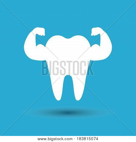 Strong tooth. isolated on background. Vector illustration. Eps 10.