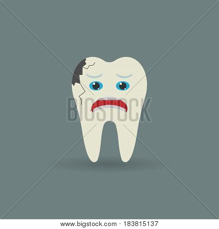 sick tooth isolated on background. Vector illustration. Eps 10.