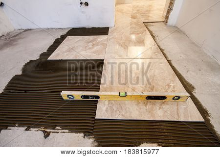 Ceramic Tiles And Tools For Tiler. Floor Tiles Installation. Home Improvement, Renovation - Ceramic