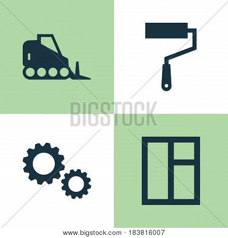 Industry Icons Set. Collection Of Cogwheel, Paint Roller, Tractor And Other Elements. Also Includes Symbols Such As Window, Vehicle, Cogwheel.