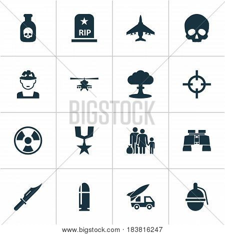 Warfare Icons Set. Collection Of Danger, Target, Aircraft And Other Elements. Also Includes Symbols Such As Knife, Oficer, Chopper.