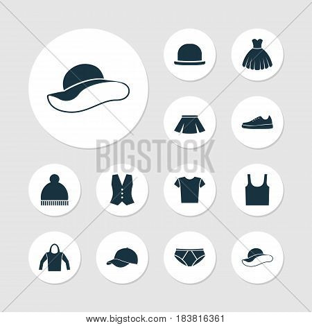 Garment Icons Set. Collection Of Elegant Headgear, Singlet, Panama And Other Elements. Also Includes Symbols Such As Shirt, Gumshoes, Fedora.