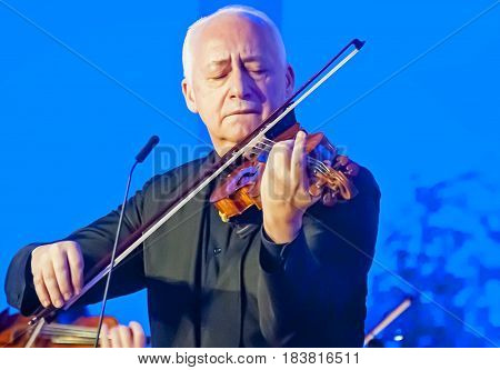 BRUSSELS, BELGIUM. January 25, 2017. Vladimir Spivakov,a leading Russian conductor and violinist, and his musicians performing in the European Parliament on the International Holocaust Remembrance Day