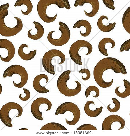 Horns of Ram Seamless Pattern Isolated on White Background