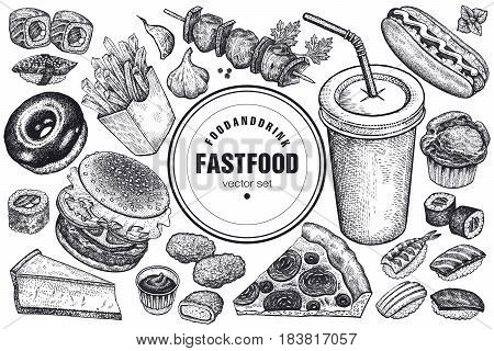 Fast food and drink set. Burger fries pizza sushi nuggets kebabs hot dog muffin cheesecake donut isolated. Designed for fast food cafes. Vector illustration. Vintage art. Black and white.