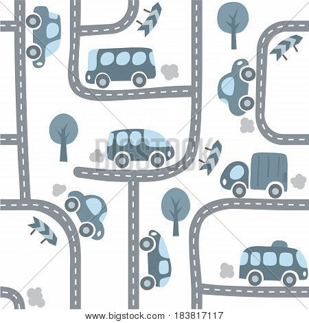 Funny cars on the road. Seamless pattern of small car, van, lorry, bus with trees and signs. Children vector illustration. Kids background