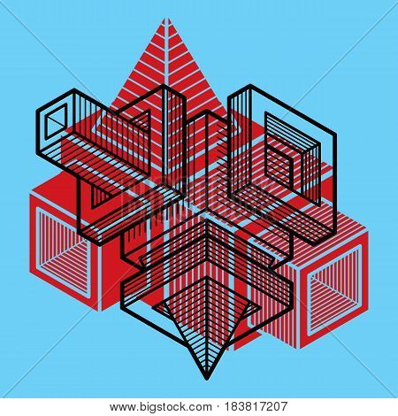 Engineering three-dimensional construction abstract vector trigonometric shape.
