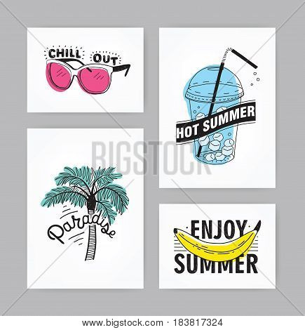 Set of hand drawn cards with lettering. inscriptions: Enjoy summer, paradise, hot summer, chill out. Postcards collection with illustrations: palm, sunglasses, beverage with ice, banana