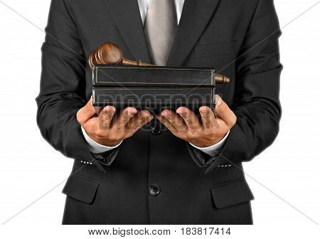 Closeup of a Lawyer with Gavel and Books