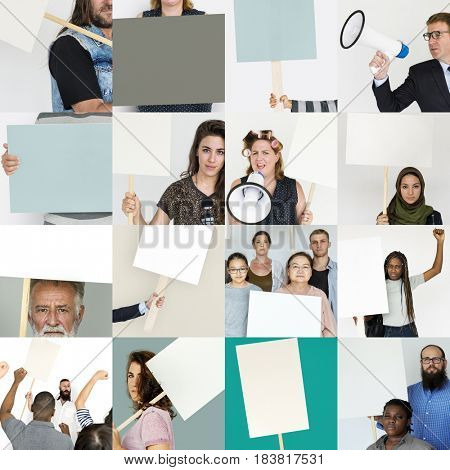 Diverse Group of People with Protest Sign Studio Collage