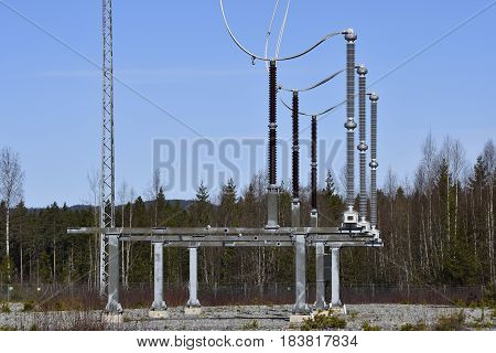 Surge arresters on a high voltage linepicture from the North of Sweden.