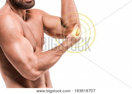 Sport injury, Man with elbow pain. The human pain concept.