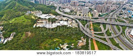 Aerial Photography Of City Viaduct Bridge Road Landscape