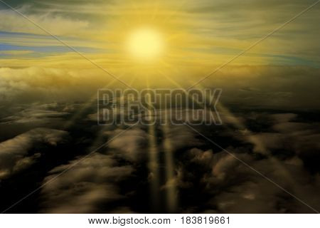 Sunset risen Sun clouds on the plane nature background