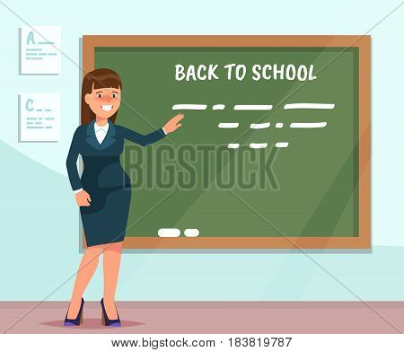 Vector illustration teacher standing at chalkboard in classroom in flat style. The design concept postcard for teachers ' day