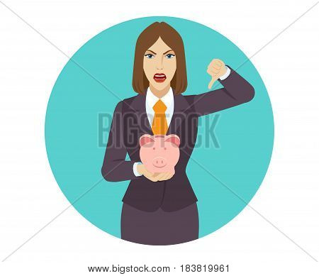 Businesswoman holding a piggy bank and showing thumb down gesture as rejection symbol. Portrait of businesswoman character in a flat style. Vector illustration.