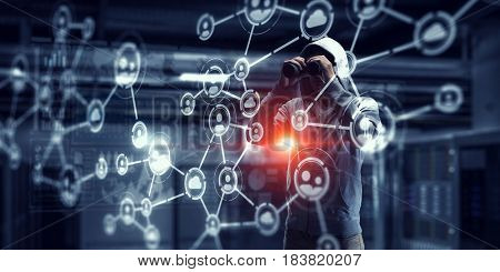 Be aware of hacker attack. Mixed media