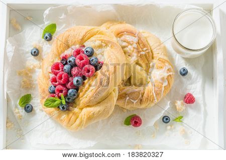 Delicious Yeast Cake With Raspberries And Blueberries