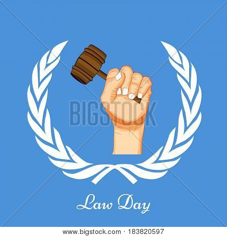 Illustration of hand with gavel for law Day