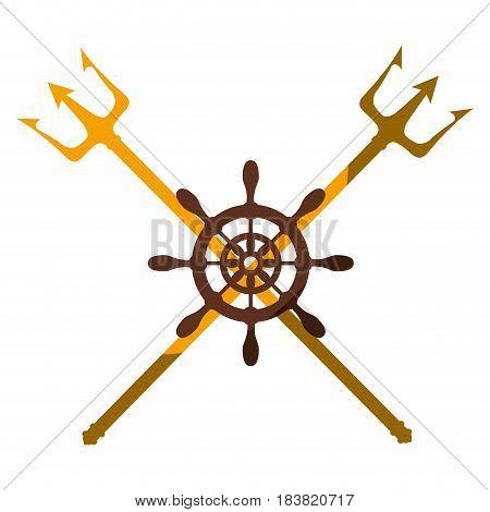 emblem with rudder wheel icon over white background. vector illustration