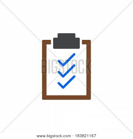 Clipboard check marks icon vector filled flat sign solid colorful pictogram isolated on white. Symbol logo illustration. Pixel perfect