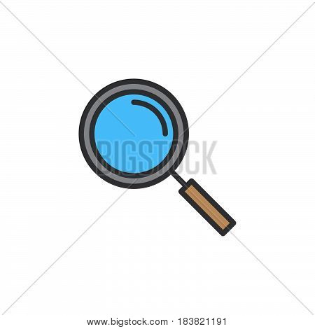 Magnifying glass line icon filled outline vector sign linear colorful pictogram isolated on white. Search find symbol logo illustration. Editable stroke. Pixel perfect